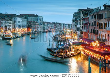 Grand Canal, Shot With A Long Exposure, Venice At Night, Italy. Venice Nightlife. Beautiful Panorami