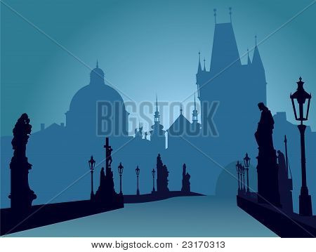 Charles bridge Prague vector