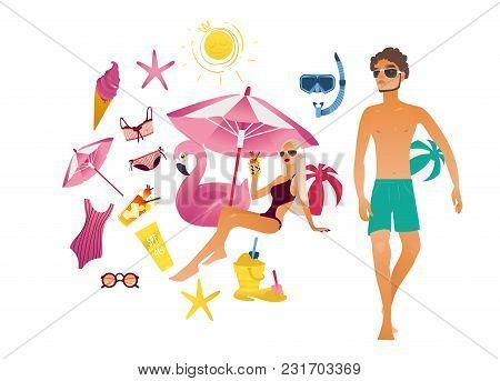 Summer Vacation Elements Set. Cartoon Travel Holiday Object Character. Beach Girl Under Sun Umbrella