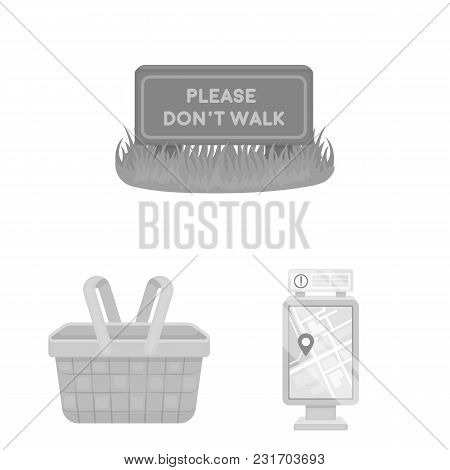 Park, Equipment Monochrome Icons In Set Collection For Design. Walking And Rest Vector Symbol Stock