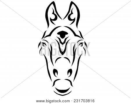 Tribal Horse Illustration, Horse In Tribal Style, Ornamental Horse On White Background Illustration