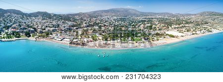 Panorama Of The Bay And Beach Of Varkiza Near Athens, Attica, Greece