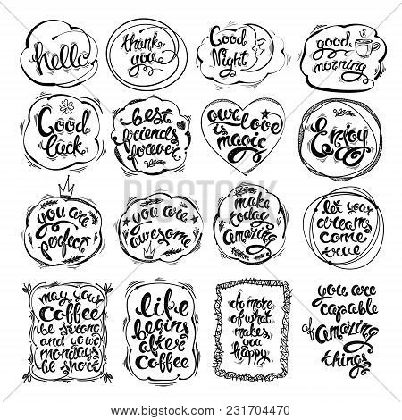 Big Set Of Hand Drawn Letters, Phrases, Motivations. Vector Greeting Card, Illustrations On Various