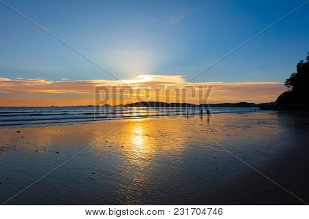 Scenic View Of Beach Against Sky During Sunset In Krabi, Thailand
