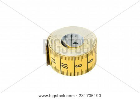 Yellow Sewing Tape Isolated On A White Background, Saved Path