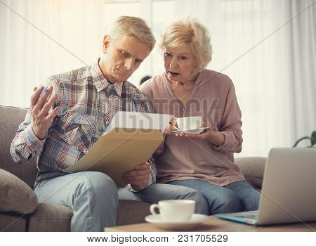Portrait Of Calm Mature Couple Concentrated On Record In Male Hand While Resting At Home With Comfor