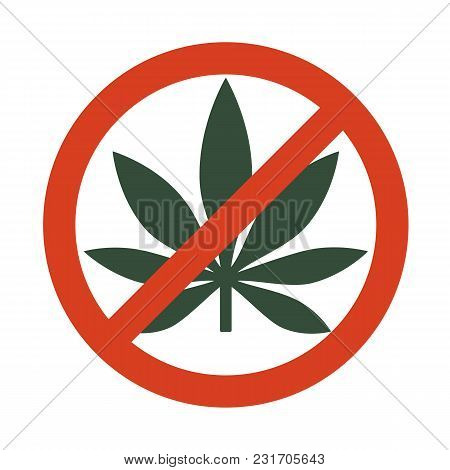 Marijuana Leaf With Forbidden Sign - No Drug. No To Marijuana. Cannabis Leaf Icon In Prohibition Red