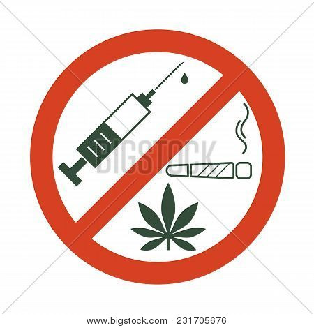 No Drugs Allowed. Drugs, Marijuana Leaf With Forbidden Sign - No Drug. Drugs Icon In Prohibition Red