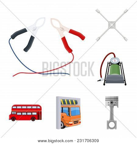 Car, Lift, Pump And Other Equipment Cartoon Icons In Set Collection For Design. Car Maintenance Stat
