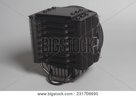 Computer Fan Cpu Cooler On A Gray Background