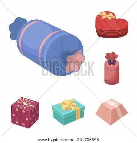 Gift And Packing Cartoon Icons In Set Collection For Design.colorful Packing Vector Symbol Stock  Il