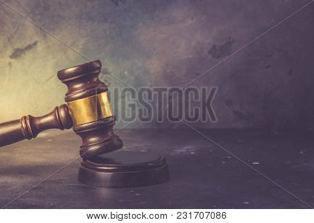 Law And Justice Concept - Law Gavel On Gray Background, Retro Toned