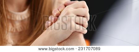 Woman And Man In Suit Hold Hands In Wrestle. Strong People Battle Portrait Female Emancipation Femin