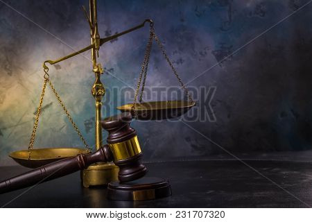 Law And Justice Concept - Law Gavel With Scale On Gray Background, Retro Toned