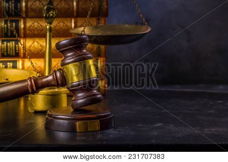 Law And Justice Concept - Law Gavel With Scale And Books With Copy Space, Retro Toned