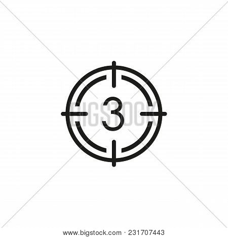 Film Countdown Line Icon. Target, Three, Focus. Cinema Concept. Can Be Used For Topics Like Movie, C