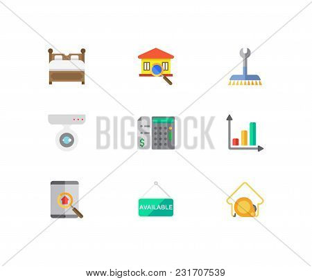 Building Icons Set. Price Calculation And Building Icons With House Measurement, Real Estate App And