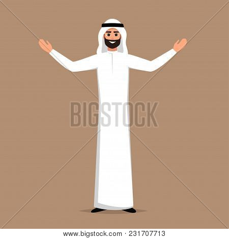 Cartoon Successful Arab Man In White Clothes Stands With Open Arms. Vector Cartoon Smiling Islamic B