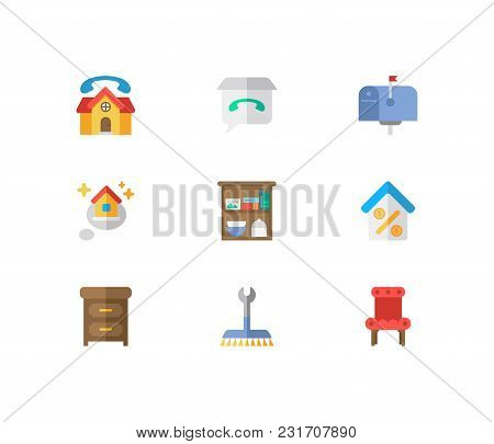 Real Estate Icons Set. Mail Box And Real Estate Icons With Real Estate Feedback, Storage And Real Es