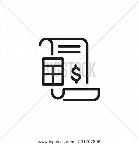 Financial Document Line Icon. Dollar Sign, Invoice, Calculator. Finance And Accounting Concept. Can