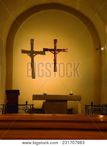 Altar Under A Crucifix Where They Celebrate The Masses.
