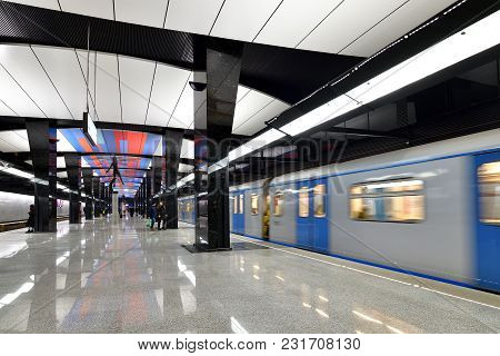 Moscow, Russia - March 17. 2018. Train Is Arriving To The Metro Station Cska