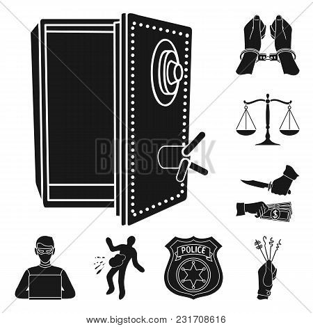 Crime And Punishment Black Icons In Set Collection For Design.criminal Vector Symbol Stock  Illustra