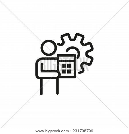 Man With Calculator Line Icon. Gear, Budget Automation, Accounting. Finance And Accounting Concept.