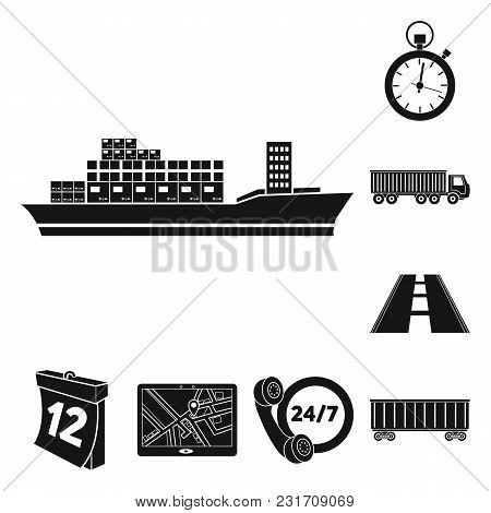 Logistics Service Black Icons In Set Collection For Design. Logistics And Equipment Vector Symbol St