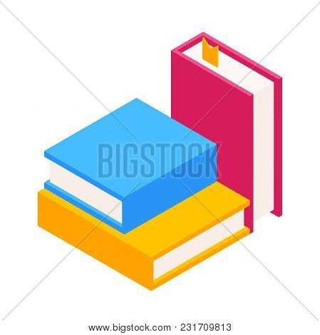 Vector Set Of Colorful Stack Of Books In Isometric.education Infographic Template Design With Books