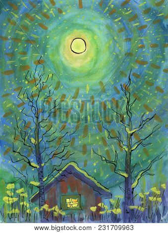 Winter Moonlight Night. Full Moon Is Above The House. Sparkling Beams Are Crossing The Sky. Two Tree