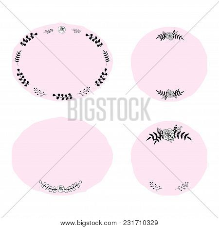 Set Of 4 Vector Patches With Cute Floral Frames And Wreaths In Girly Style. Perfect For Stickers, Pa