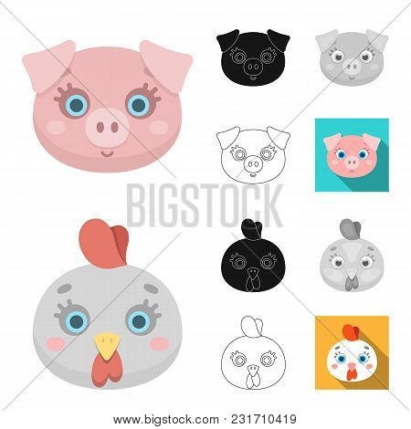 Muzzles Of Animals Cartoon, Black, Flat, Monochrome, Outline Icons In Set Collection For Design. Wil