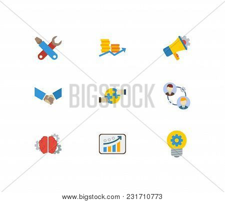 Partnership Icons Set With Cooperation, Handshake, Finance. Set Of Partnership Icons Also Including
