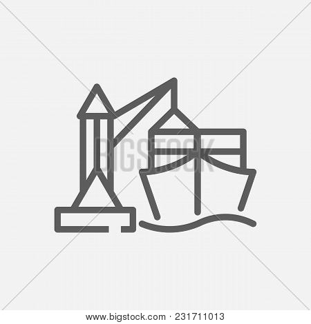 Ship Port Icon Line Symbol. Isolated Vector Illustration Of Seaport Sign Concept For Your Web Site M