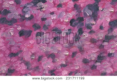 Big Overlapping Brushstrokes Of Oil Painting Texture For Background. Spring Series. Blooming Lilac.
