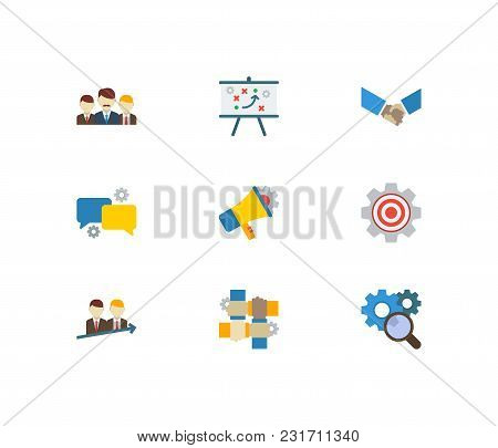 Partnership Icons Set With Technical Partnership, Research And Marketing. Set Of Partnership Icons A