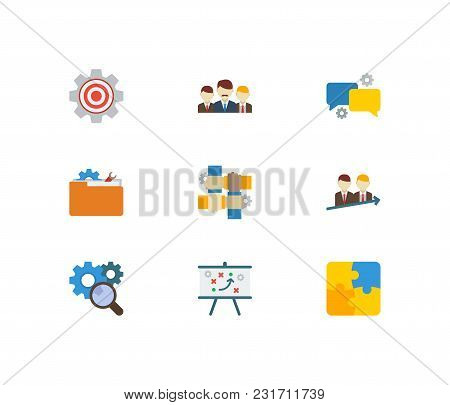 Partnership Icons Set With Technical Project, Teamwork And Research. Set Of Partnership Icons Also I
