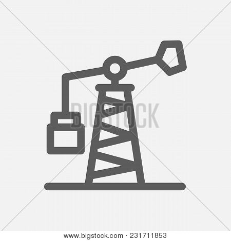 Oil Pump Station Icon Line Symbol. Isolated Vector Illustration Of Petrol Rig Sign Concept For Your