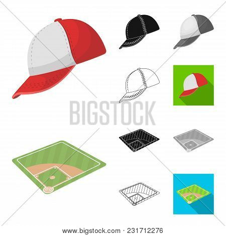 Baseball And Attributes Cartoon, Black, Flat, Monochrome, Outline Icons In Set Collection For Design