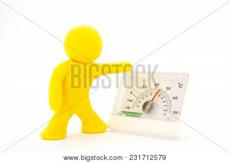 Yellow Plasticine Characters And Thermometer. Isolated On White Background