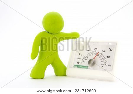 Lime Green Plasticine Characters And Thermometer. Isolated On White Background