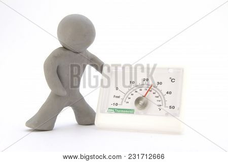 Gray Plasticine Characters And Thermometer. Isolated On White Background