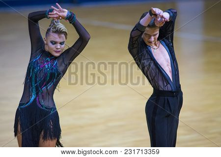 Minsk-belarus, March 11, 2018: Dance Couple Of Ilia Shvaunov And Anna Sneguir Performs Youth Latin P