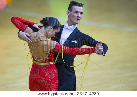 Minsk-belarus, March 11, 2018: Dance Couple Of Kirill Kishkurno And Anna Kravchenko Performs Youth S