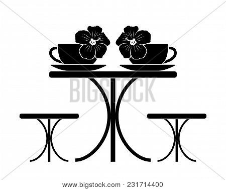 Vector Table With Cups Of Hibiscus Tea Isolated On White Background