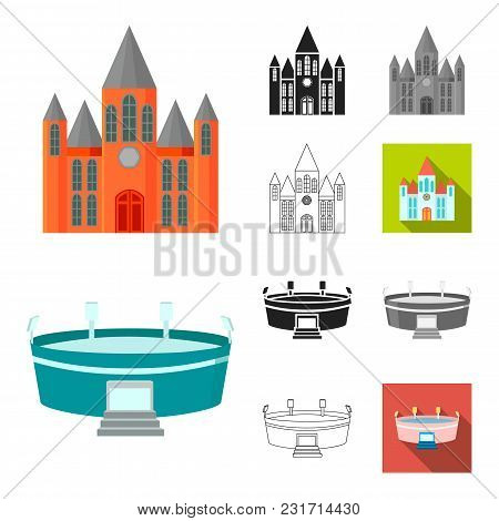Building And Architecture Cartoon, Black, Flat, Monochrome, Outline Icons In Set Collection For Desi