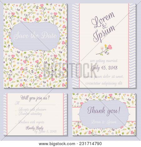 Vector Set Of Pastel Tender Wedding, Baby Shower Invitation, Congratulation Cards. Save The Date  In