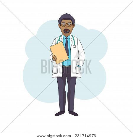 Black Doctor Professor Talking, In White Coat With Folder. Modern Style, Isolated On White Backgroun