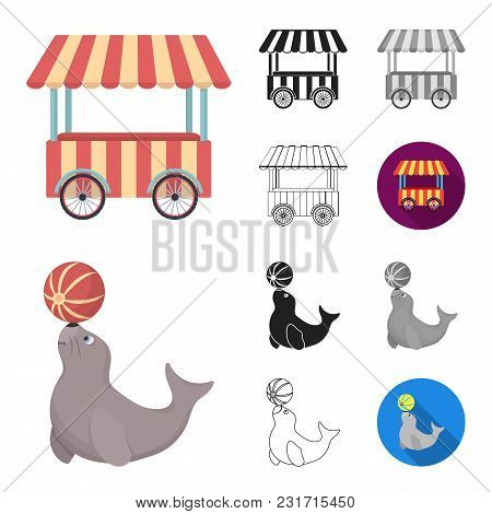 Circus And Attributes Cartoon, Black, Flat, Monochrome, Outline Icons In Set Collection For Design.